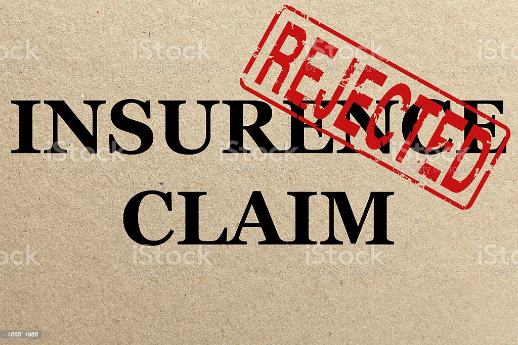 Paper texture with Rejected insurance claim stock photo