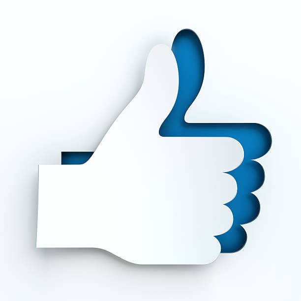 Paper thumbs up sign, 3d render stock photo