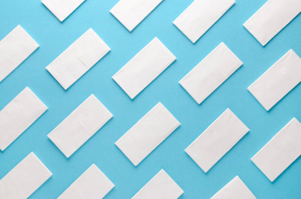 Papiergewebe abstraktes Muster auf blauem Hintergrund – Foto