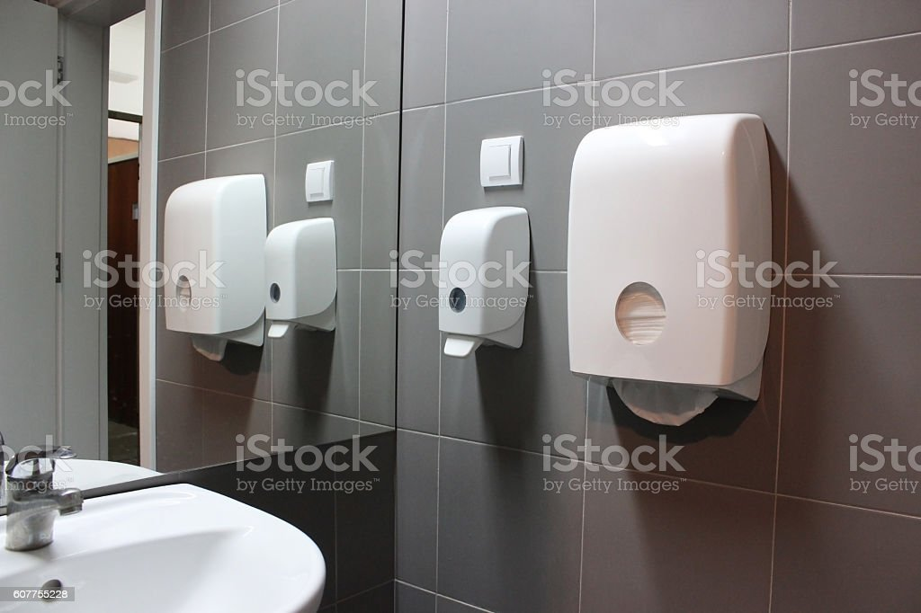 Paper towel in public rest room stock photo