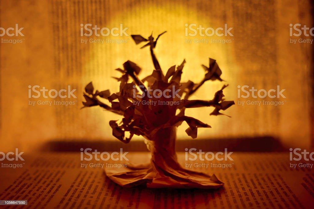 Paper tree stock photo