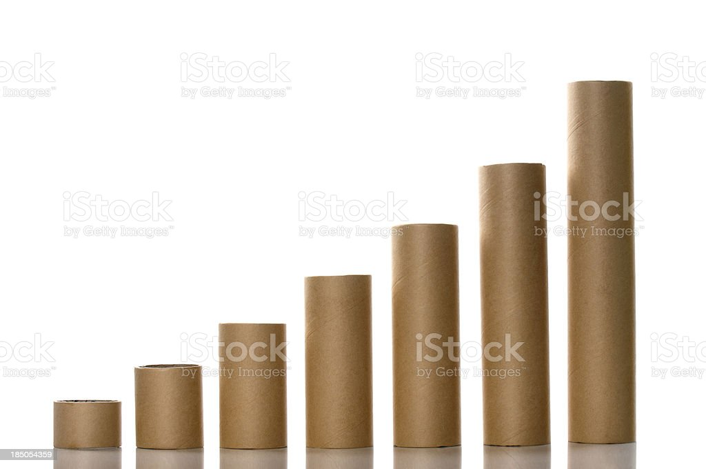 Paper Tubes Like a Graph stock photo