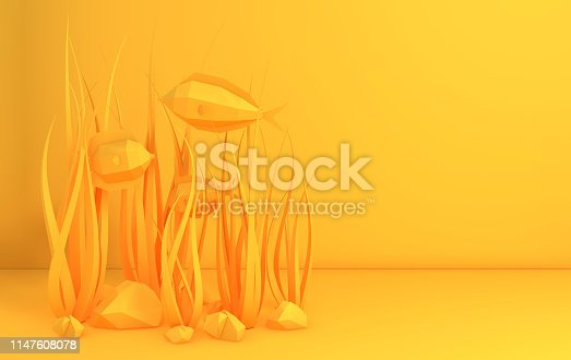 istock Paper underwater sea cave with fishes, stones, seabed in algae, waves. Paper cut deep style 3d render. Deep marine life, diving concept. Ocean wildlife 1147608078