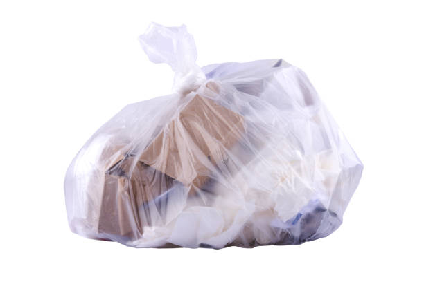 Paper waste in the garbage bag stock photo