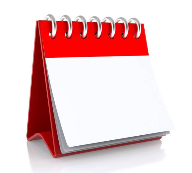 un calendrier papier blanc se dresse sur la table. isolated on white background illustration 3d- - calendrier digital journée photos et images de collection