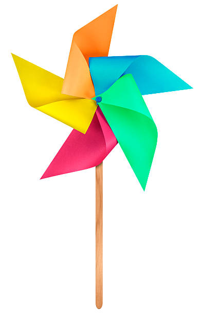 Paper windmill pinwheel - Colorful Colorful paper windmill pinwheel isolated on white with Clipping Path weather vane stock pictures, royalty-free photos & images