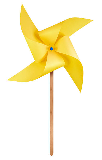 Paper windmill pinwheel - Yellow Yellow paper windmill pinwheel isolated on white with Clipping Path weather vane stock pictures, royalty-free photos & images