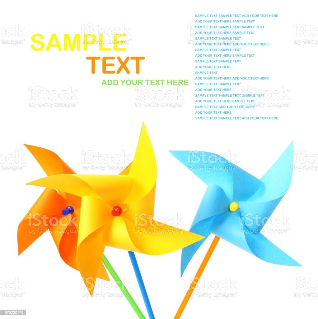 Paper windmill pinwheels   on   white background royalty-free stock photo