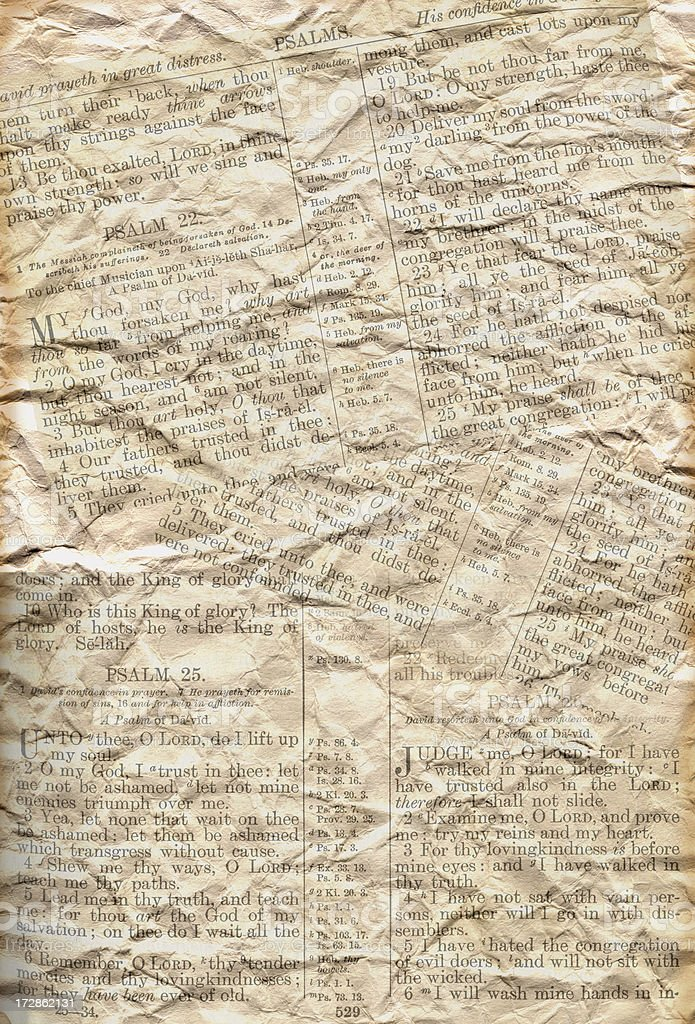 Paper with Bible Passages stock photo
