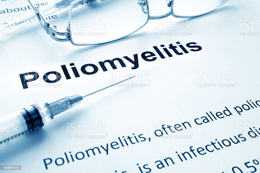 Paper with diagnosis Poliomyelitis. Polio vaccination concept. stock photo