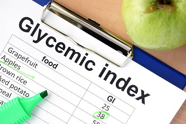 Paper with glycemic index values for different products stock photo