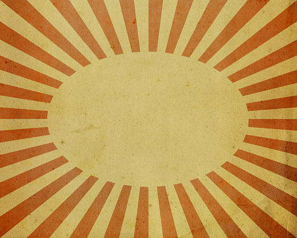 paper with red sunbeam pattern stock photo