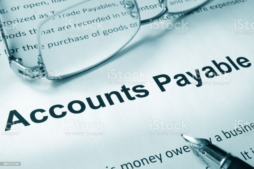 Paper with sign Accounts payable. Business concept. stock photo