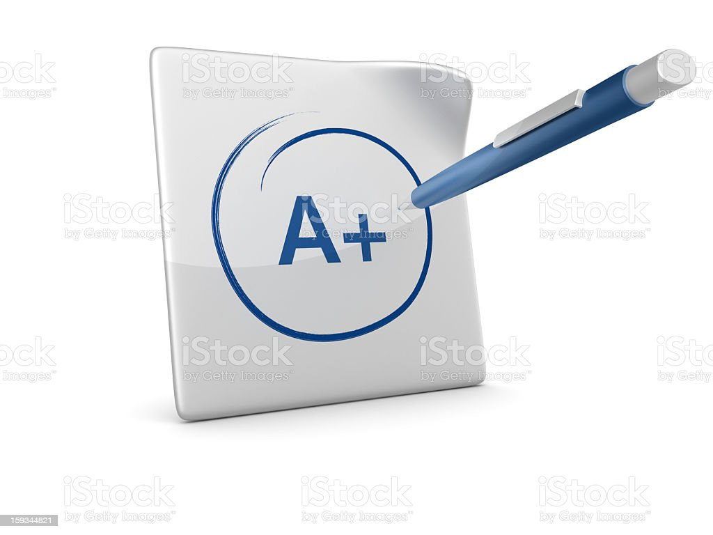 3D Paper with Test Result and Pen royalty-free stock photo