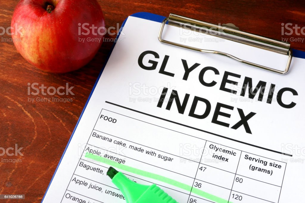 Paper with title Glycemic index GI and chart. stock photo