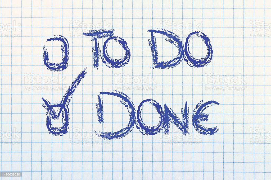 paper with To Do or Done multiple choice stock photo