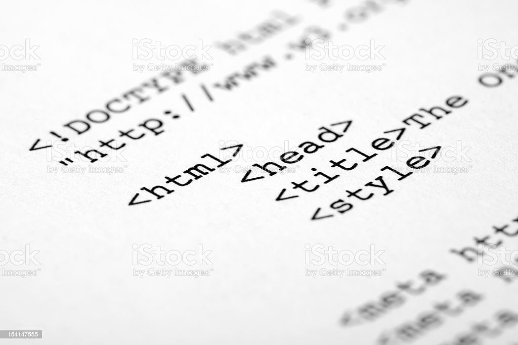 Paper with types HTML coding in black  royalty-free stock photo