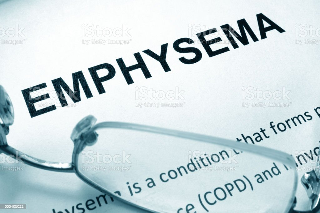 Paper with word  emphysema and glasses. stock photo