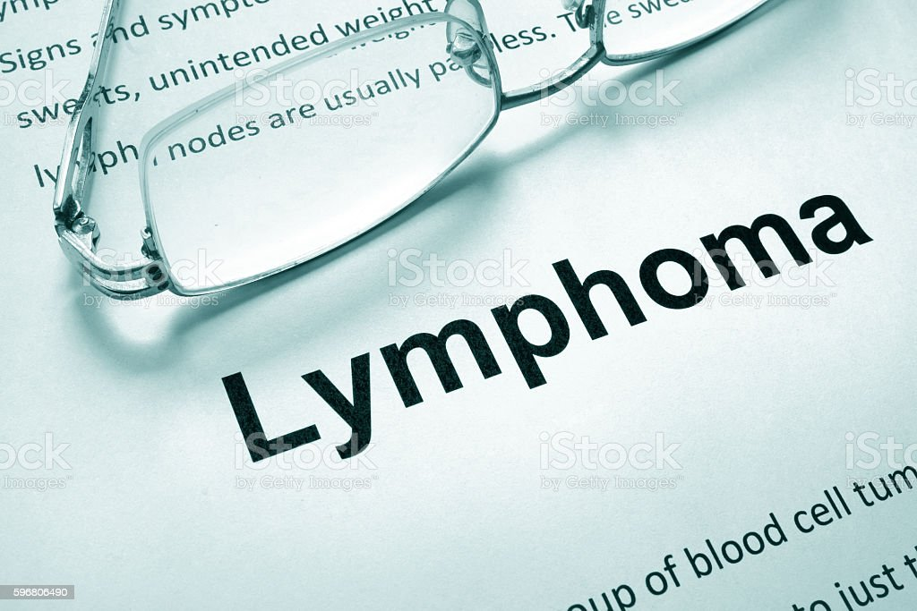 Paper with word lymphoma and glasses. Medical concept. stock photo