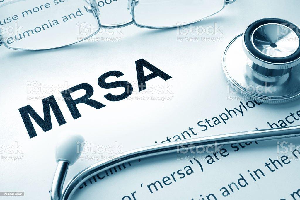 Paper with words  MRSA  Methicillin-resistant Staphylococcus Aureus stock photo