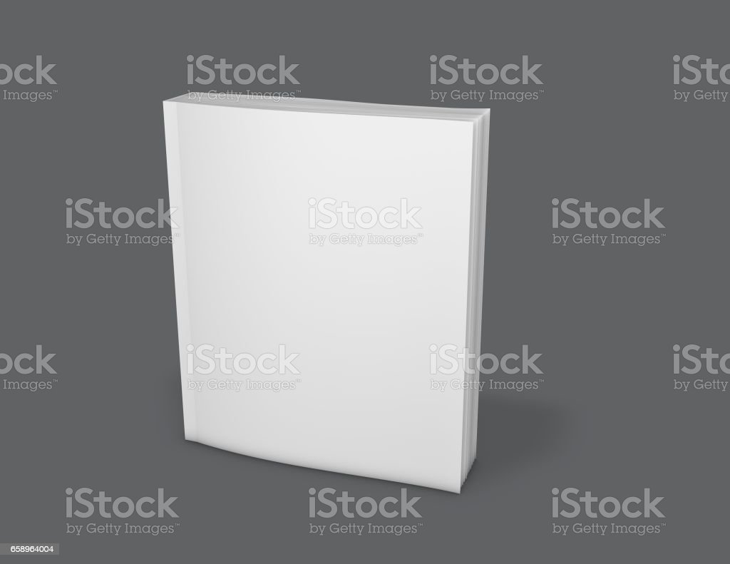 Paperback blank book cover presentation mock up 3D illustration. stock photo