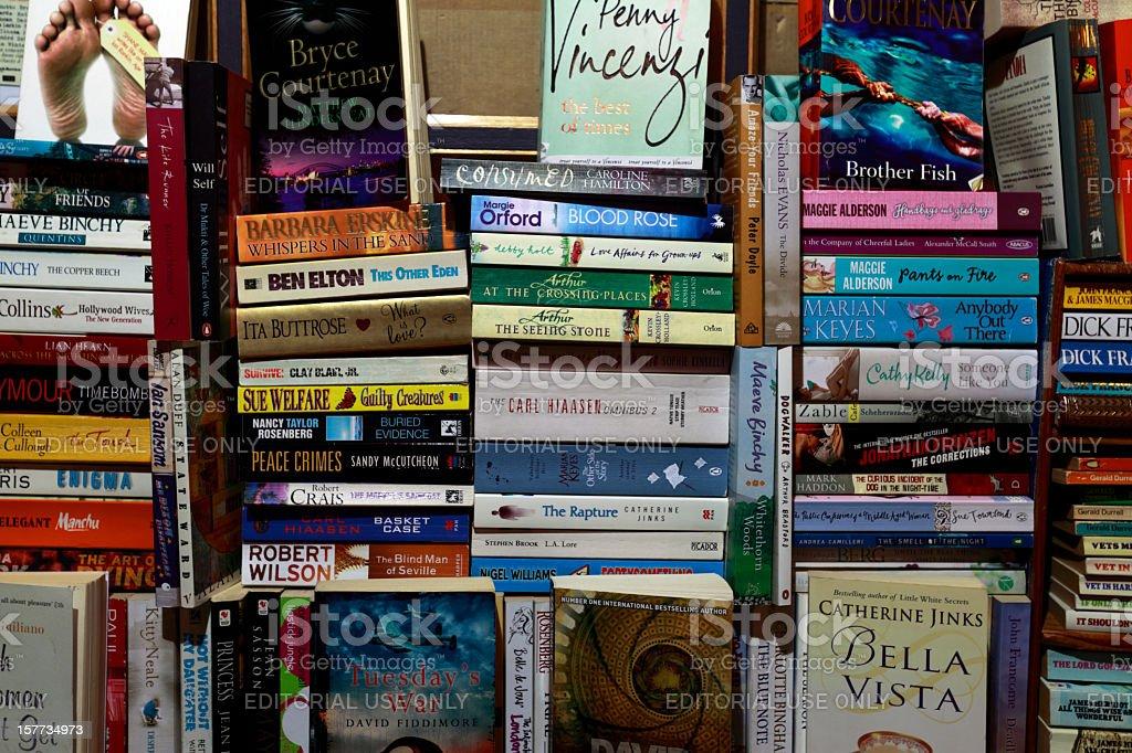Paperbacks in Piles stock photo