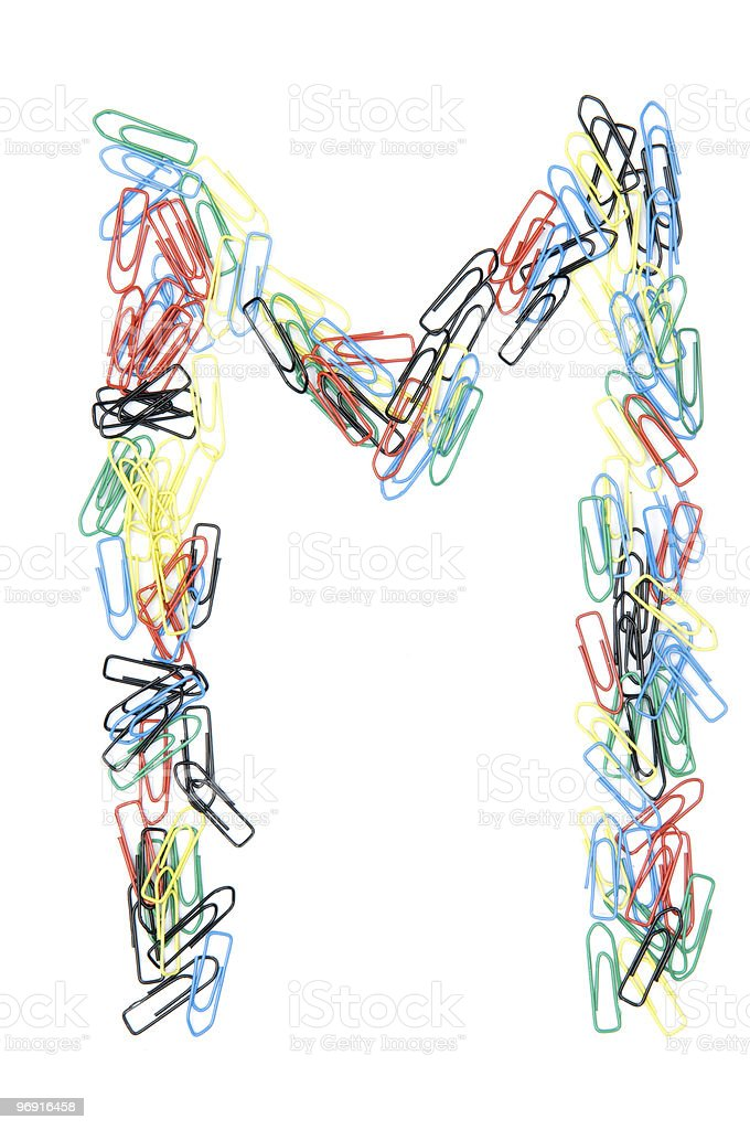 Paperclip Alphabet Letter M royalty-free stock photo