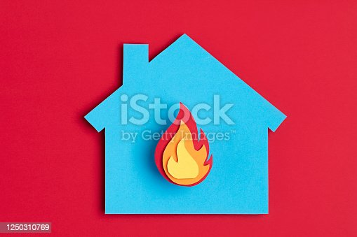 istock Papercut house with fire inside. Home insurance, security, safety, damage, accident prevention 1250310769