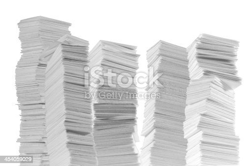 A mountain range of paper. Or symbol of building skyline. isolated on white