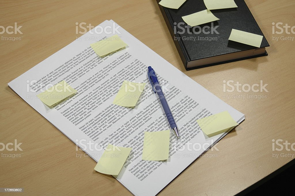 Papers and Agenda with memo notes royalty-free stock photo