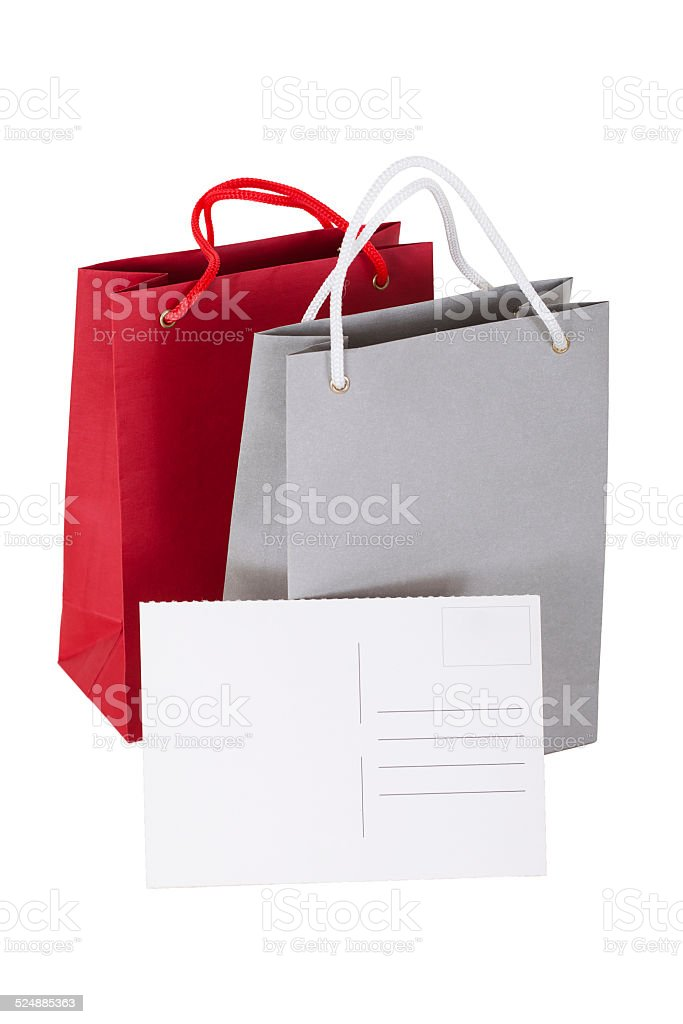 papers bag with a gift card. stock photo