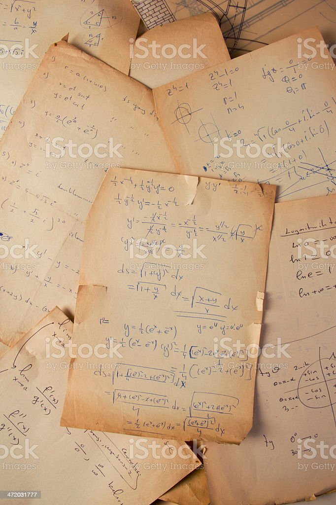 Papers of a scientist stock photo