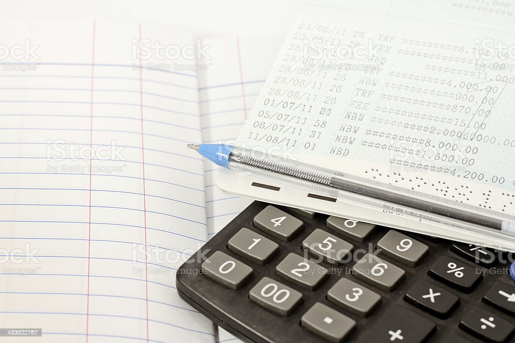 Papers on financial figures. stock photo