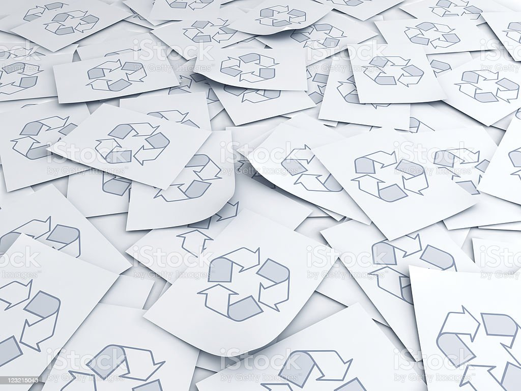 Papers with recycle symbol royalty-free stock photo