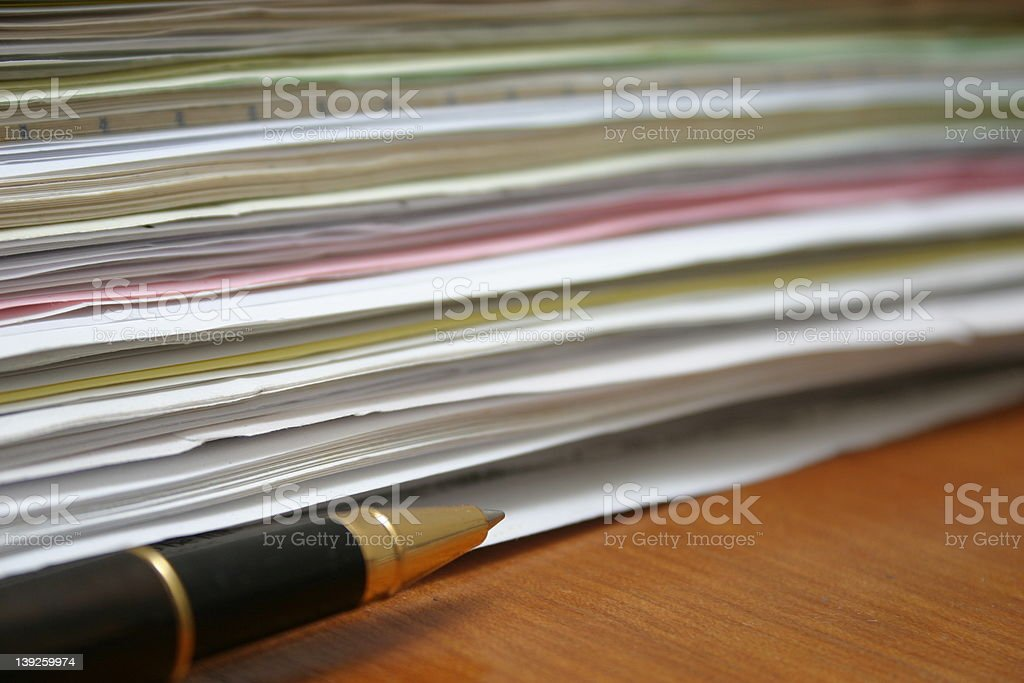 paperwork (side view) stock photo