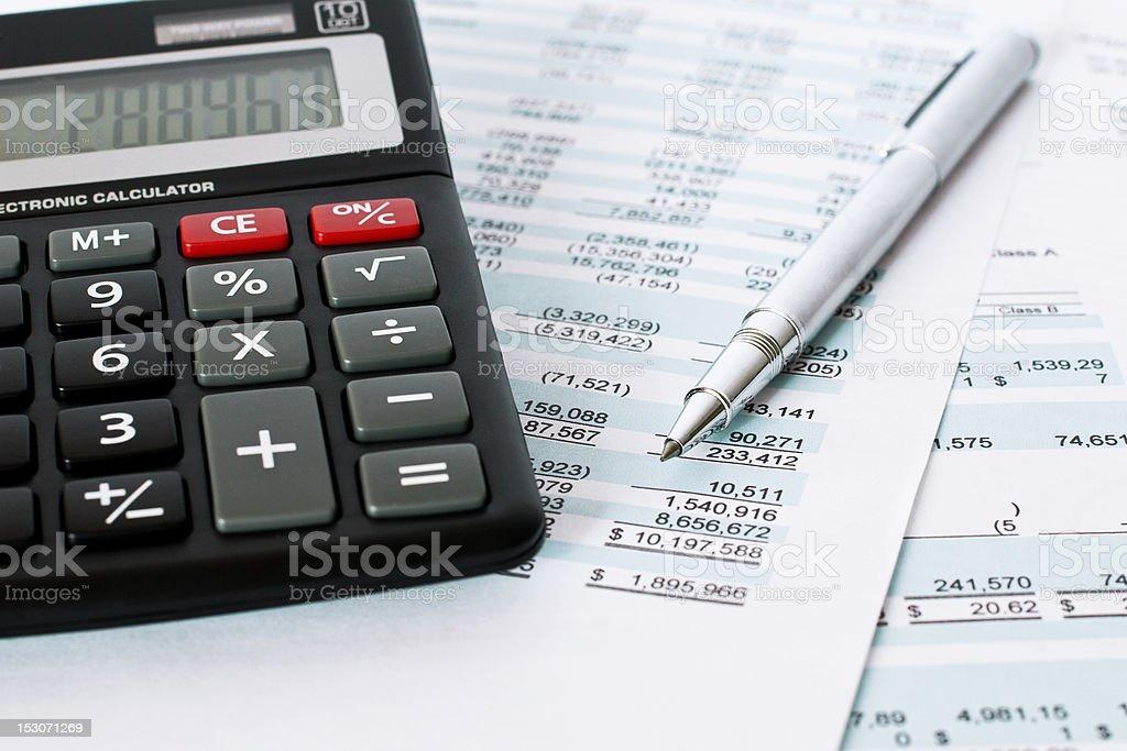 Paperwork price, pen, and calculator. stock photo