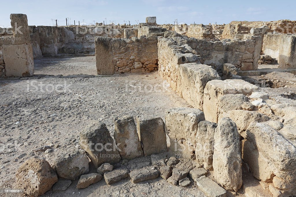 Paphos archaeological site Cyprus ancient roman ruins royalty-free stock photo
