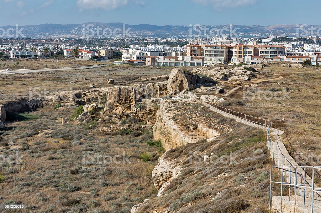 Paphos Cityscape And Ancient City Wall Ruins In Cyprus Stock