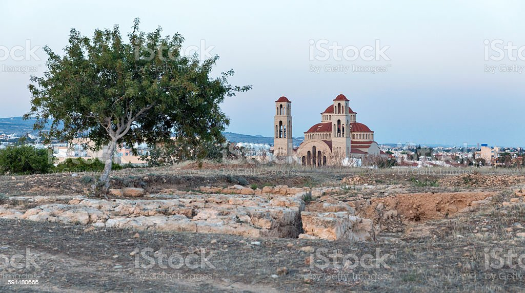 Paphos cityscape with Agioi Anargyroi Orthodox Cathedral at sunset stock photo