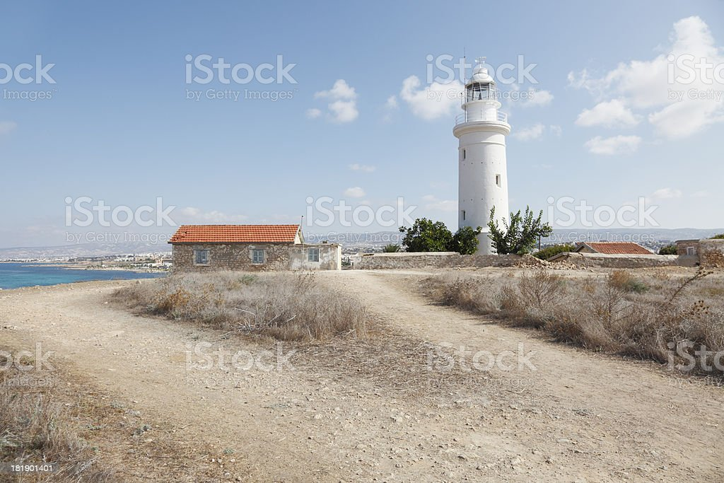 Paphos white lighthouse in archaeological site Cyprus royalty-free stock photo