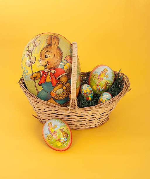 Papier Mache Eggs In Basket stock photo