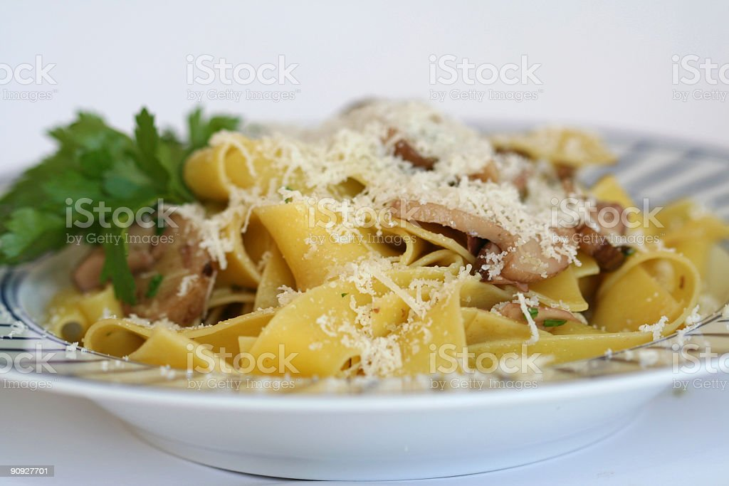 Pappardelle with mushrooms and Parmiggiano royalty-free stock photo