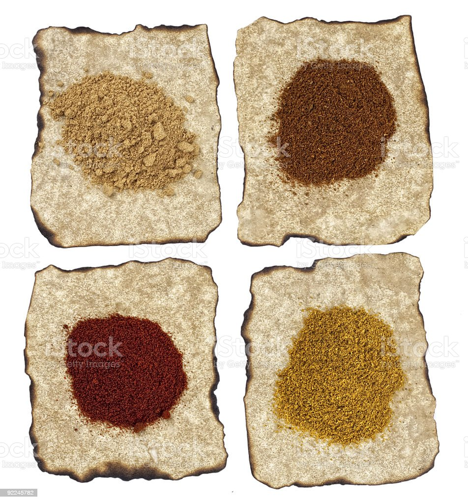 paprika, ginger, curry, tikka masala powders on old paper  isola royalty-free stock photo