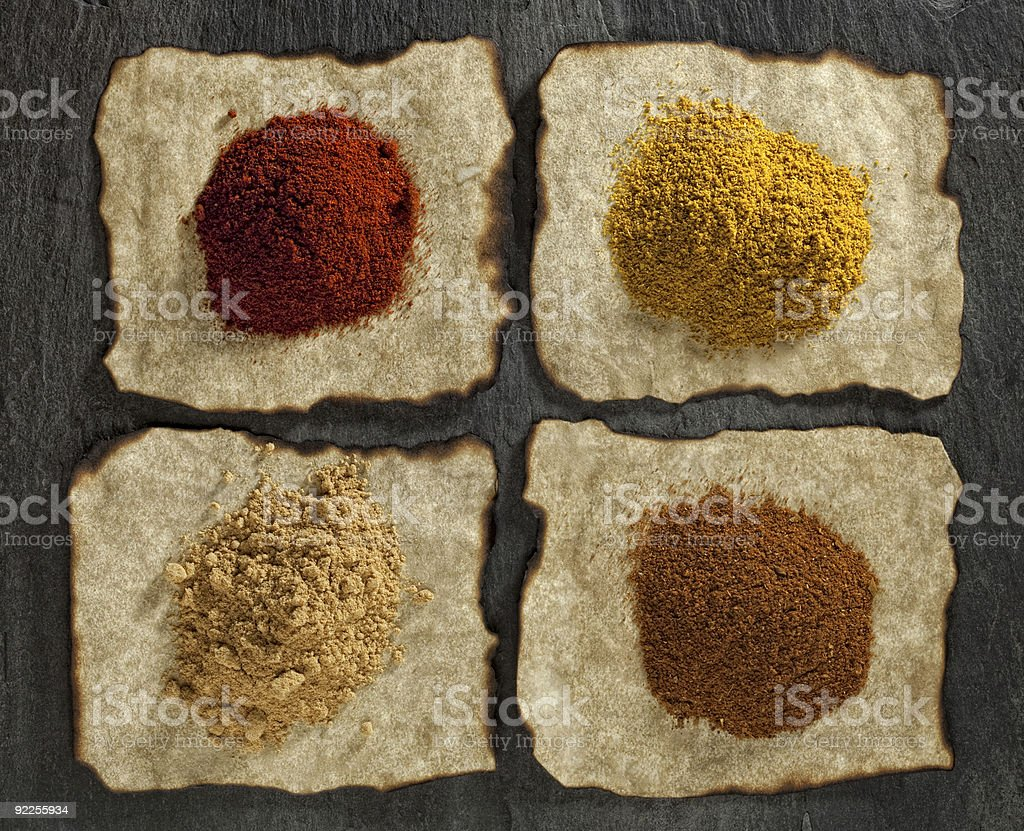 paprika, ginger curry tikka masala powders royalty-free stock photo