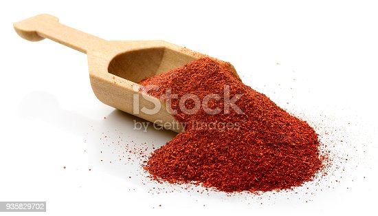 Scoop of paprika.  Isolated on white.