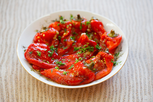 Paprika roasted bell peppers in a bowl on a table
