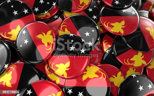 istock Papua New Guinea Badges Background - Pile of papuan Flag Buttons. 683218604