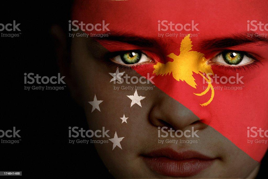 Papua New Guinea flag boy royalty-free stock photo