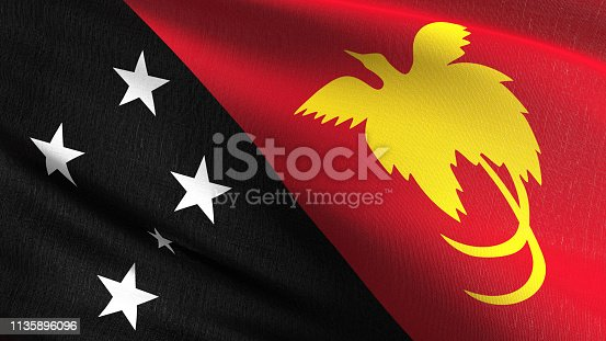 istock Papua New Guinea national flag blowing in the wind isolated. Official patriotic abstract design. 3D rendering illustration of waving sign symbol. 1135896096