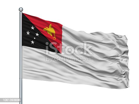 istock Papua New Guinea Naval Ensign Flag On Flagpole, Isolated On White 1061393696